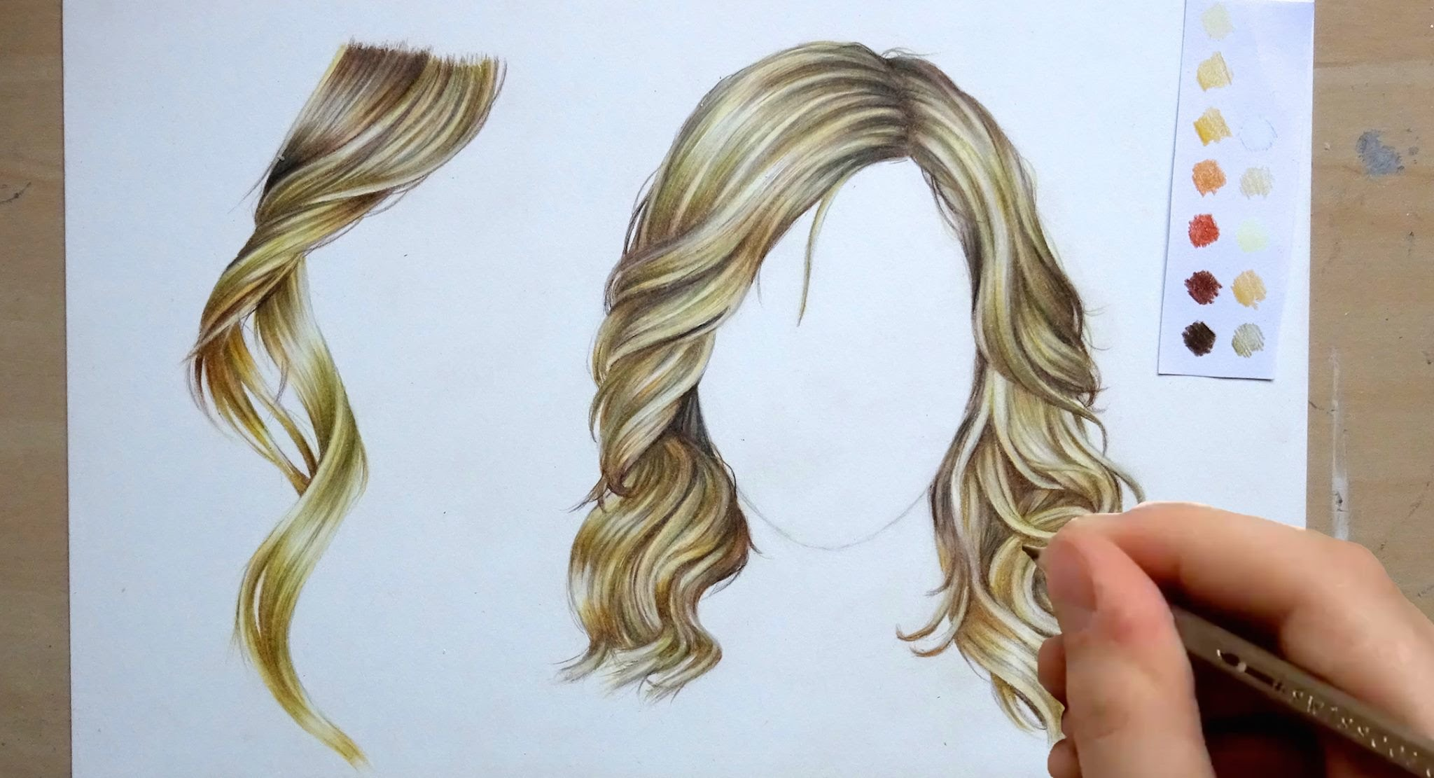 2048x1111 How To Draw And Colour Hair Pencil Tutorial