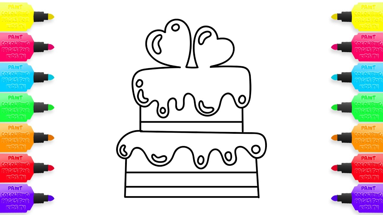 1280x720 Cake Heart Coloring Book Drawing Colouring Videos