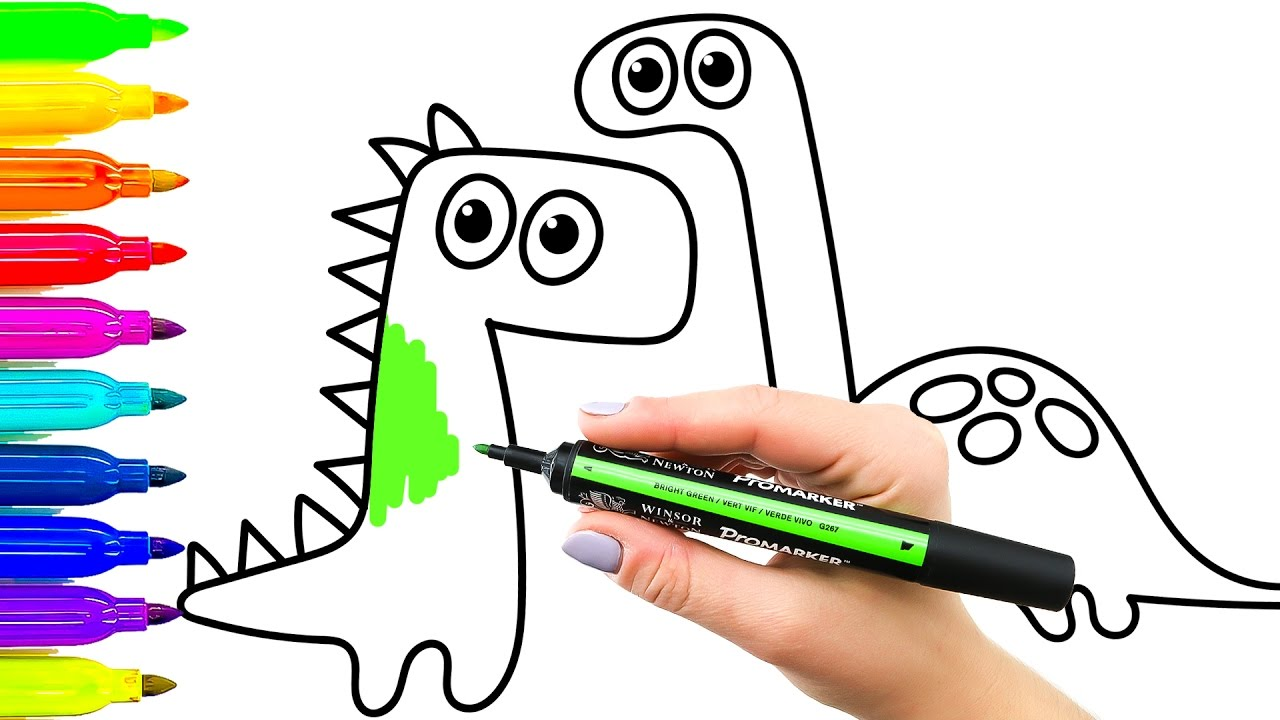 1280x720 Emerging Colouring Books For Toddlers Drawing Dinosaurs Children