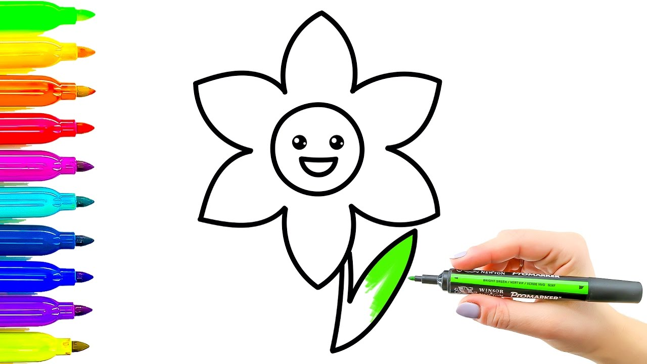 1280x720 Flower Coloring Book And Drawing. Colouring Videos For Kids