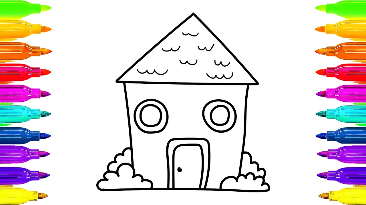 1280x720 How To Draw House Coloring Pages And Animated Drawing For Kids
