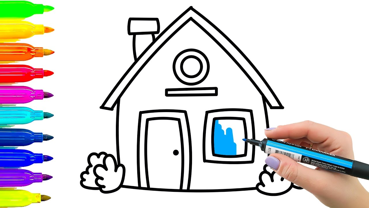 1280x720 Simple Example For Kids Colouring And Drawing House Coloring