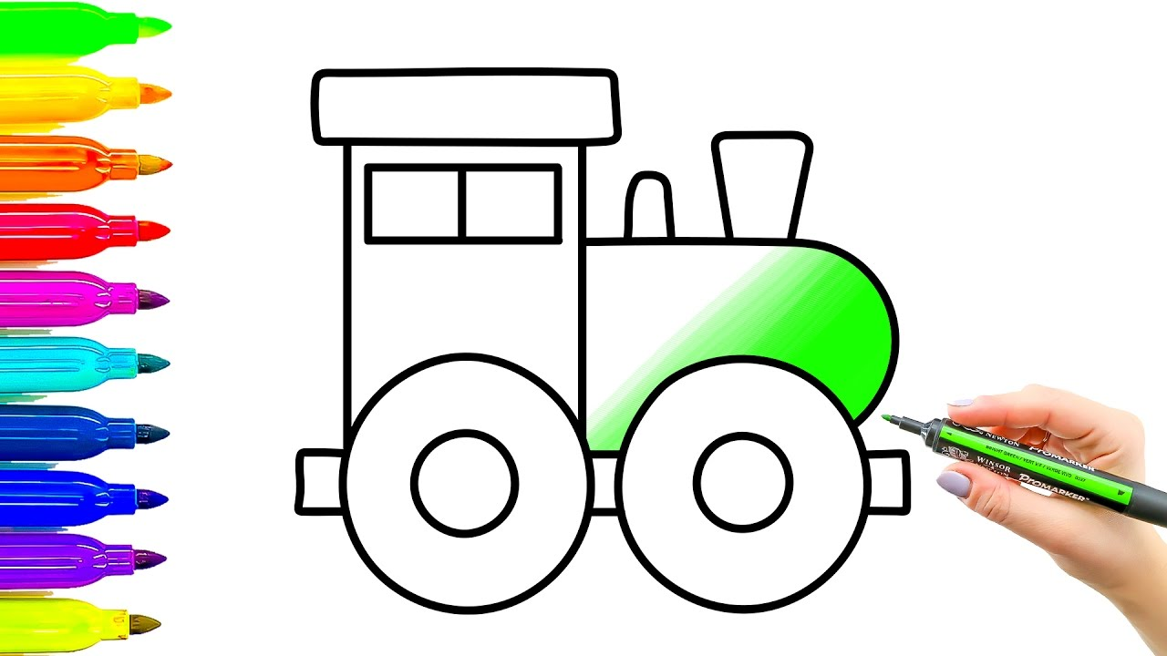 1280x720 Toy Train Coloring Pages And Drawing Colouring Videos