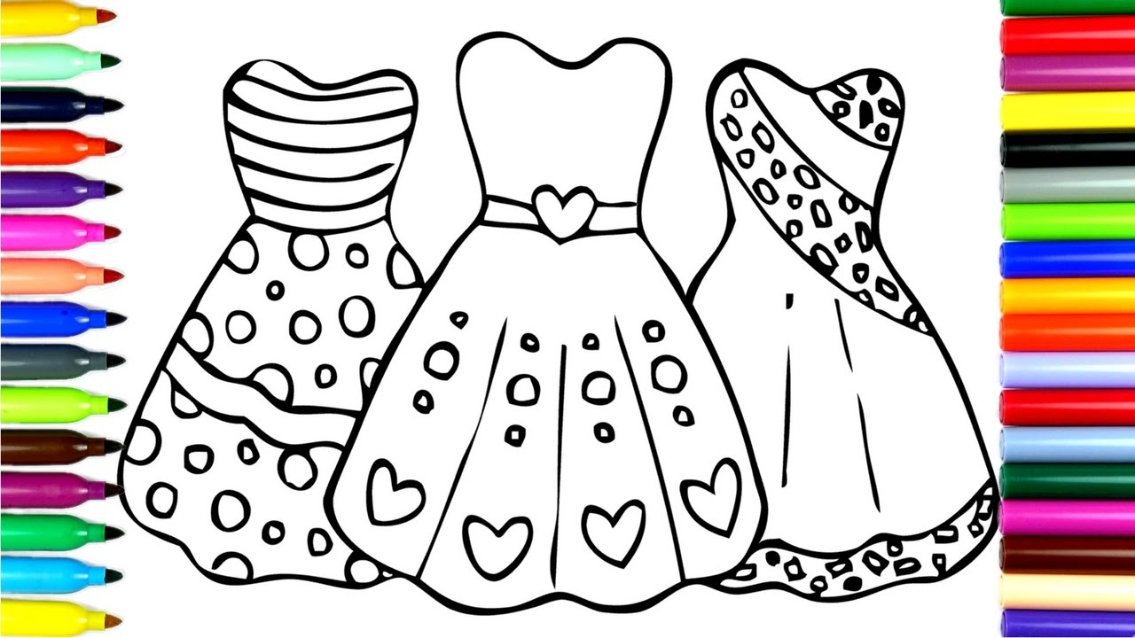 1280x720 Coloring Beautiful Princess Dresses Drawing Pages To Color