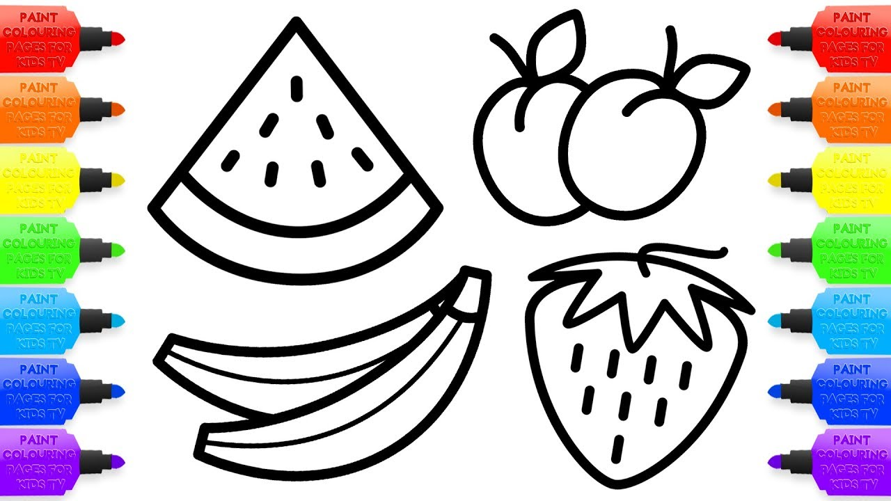 1280x720 Drawing For Kids 8 Fruit Coloring Pages How To Draw Watermelon