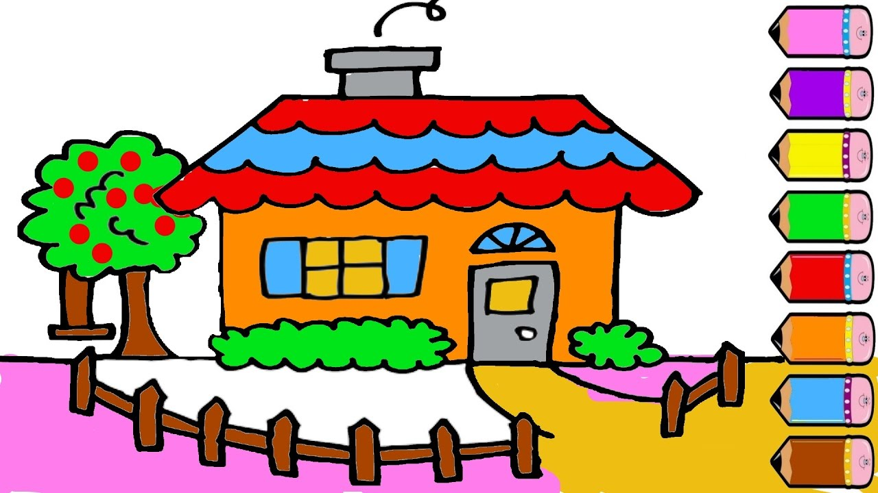 1280x720 House Drawing And Colouring Pages For Kids