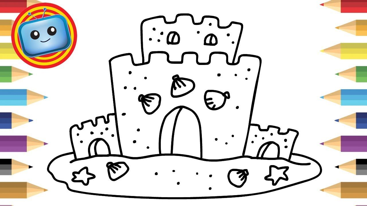 1280x720 How To Draw A Sand Castle Colouring Book Simple Drawing Game