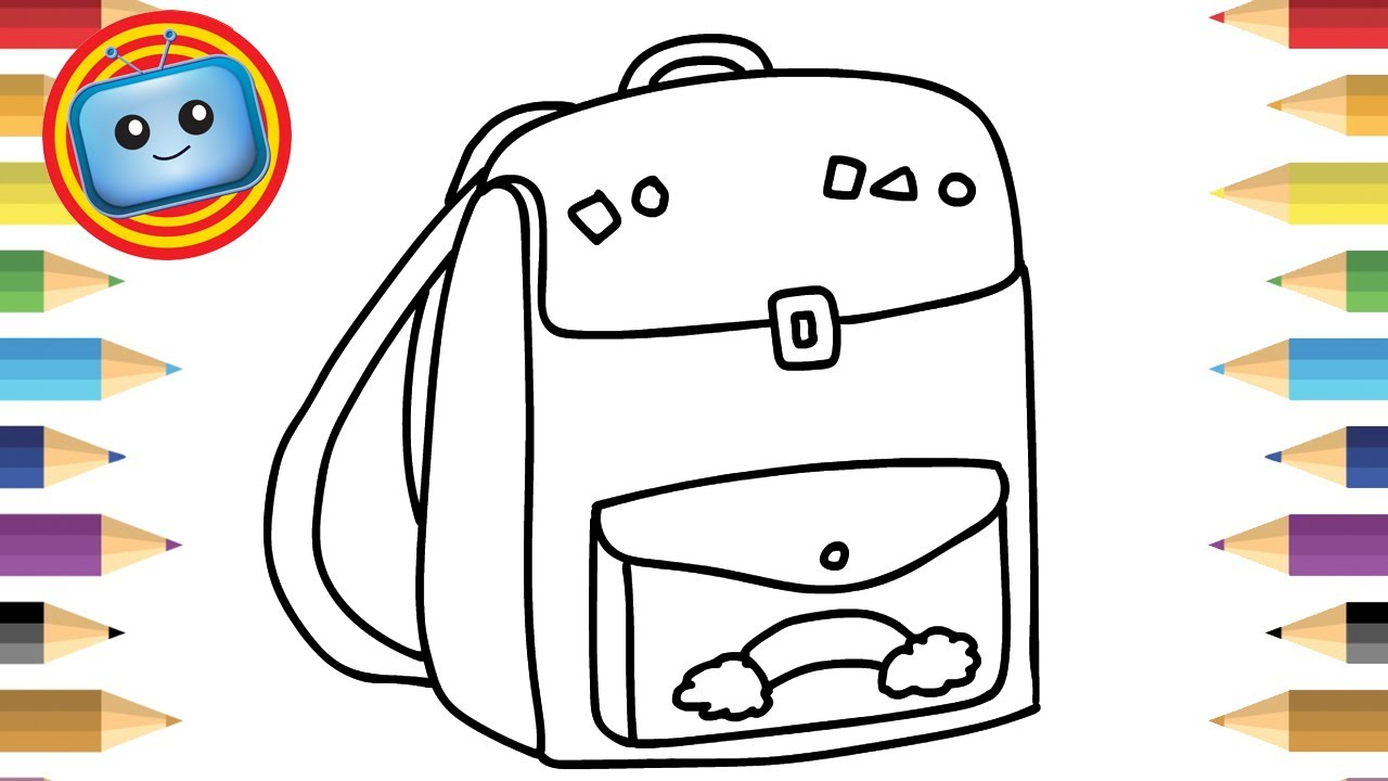 1280x720 How To Draw A School Bag Colouring Book Simple Drawing Game