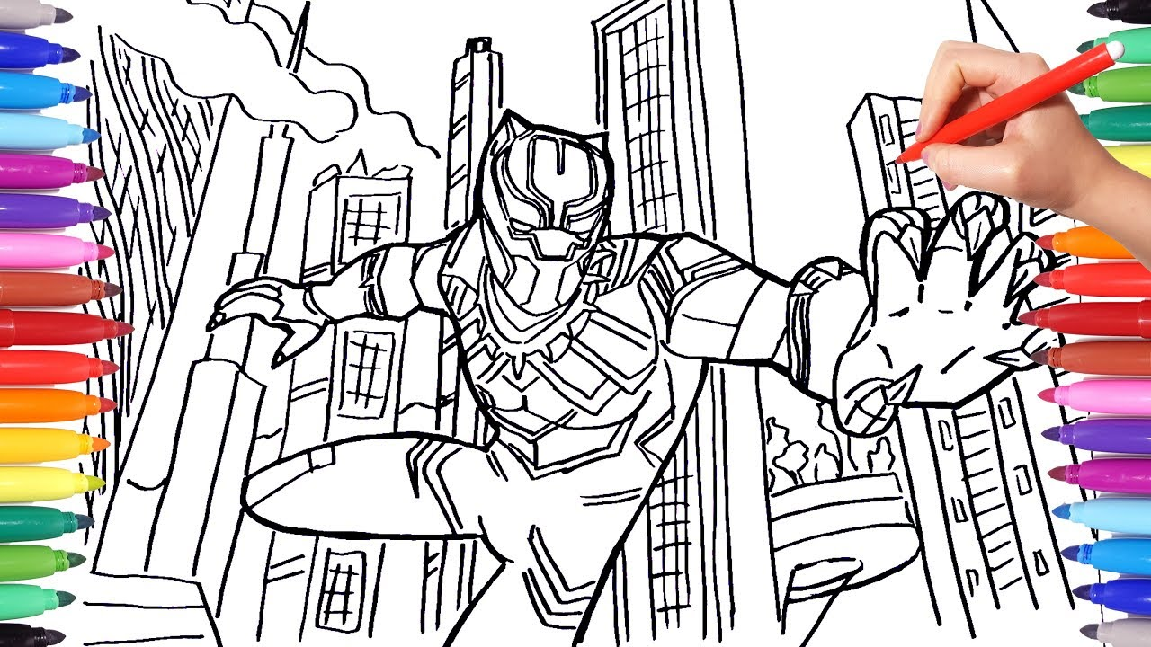 1280x720 BLACK PANTHER Coloring Pages Draw And Color Marvel Superheroes