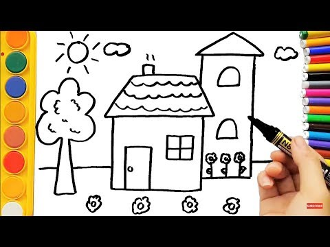 480x360 Colouring Pages And Drawing House For Kids Art Video For Kids