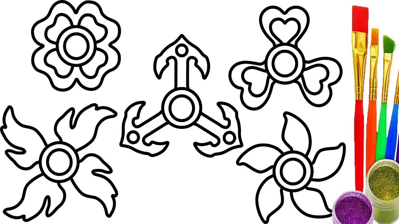 1280x720 How To Draw Fidget Spinner For Kids Coloring Pages Drawing