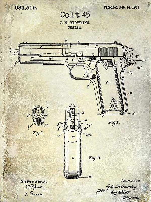 600x800 1911 Colt 45 Firearm Patent Art Print By Jon Neidert