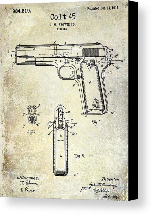 529x750 1911 Colt 45 Firearm Patent Canvas Print Canvas Art By Jon Neidert