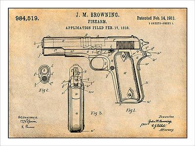 400x300 1911 Colt 45 Automatic Gun Patent