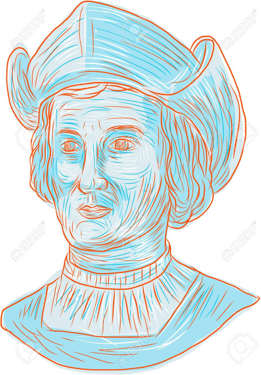 907x1300 Drawing Sketch Style Illustration Of Christopher Columbus