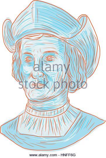 363x540 Drawing Style Illustration Christopher Columbus Stock Photos