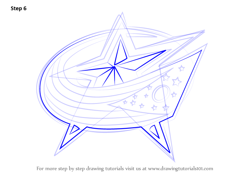 842x596 Learn How To Draw Columbus Blue Jackets Logo (Nhl) Step By Step