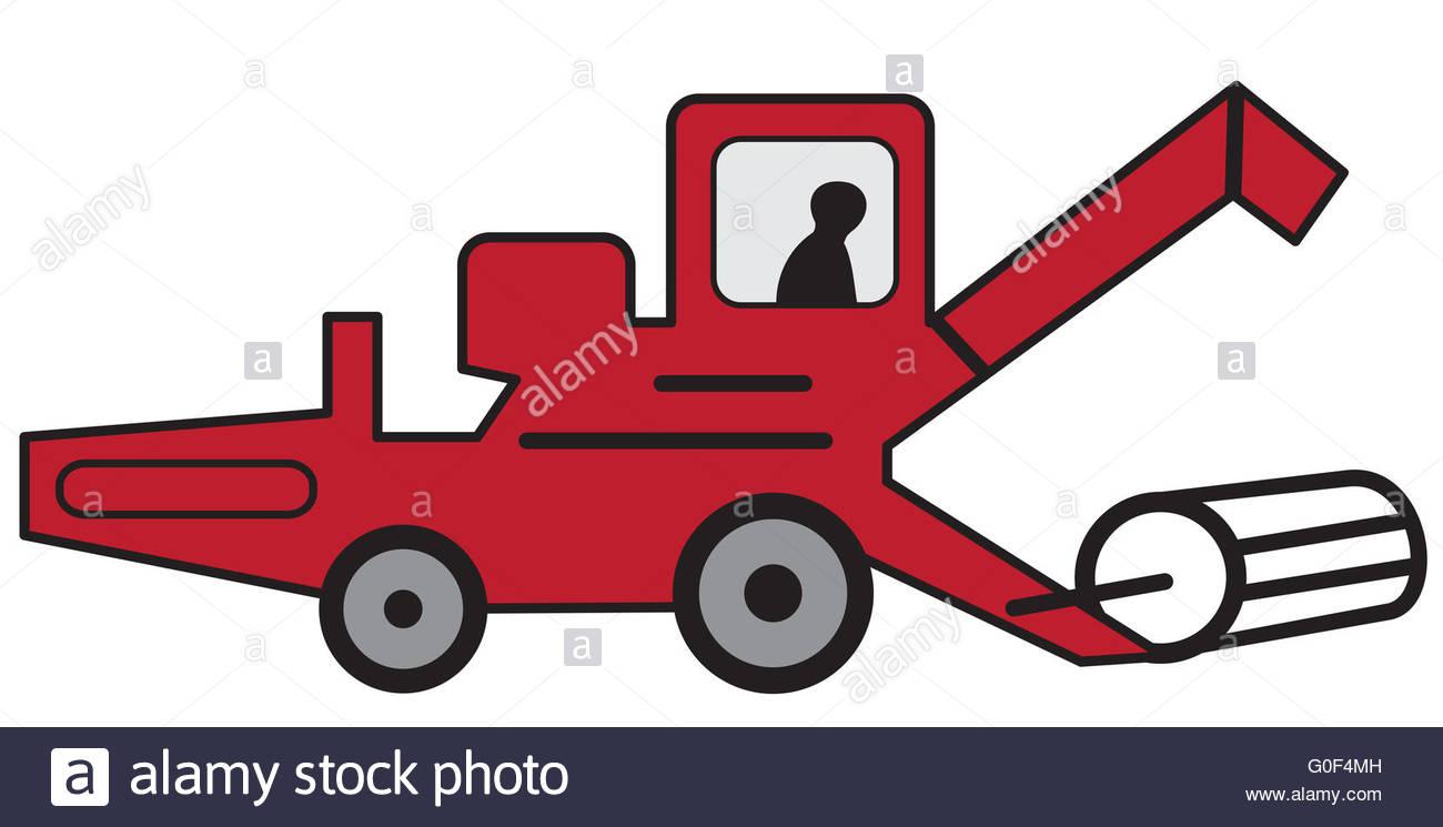 1300x745 Cartoon Red Combine Harvester Stock Photo 103595201