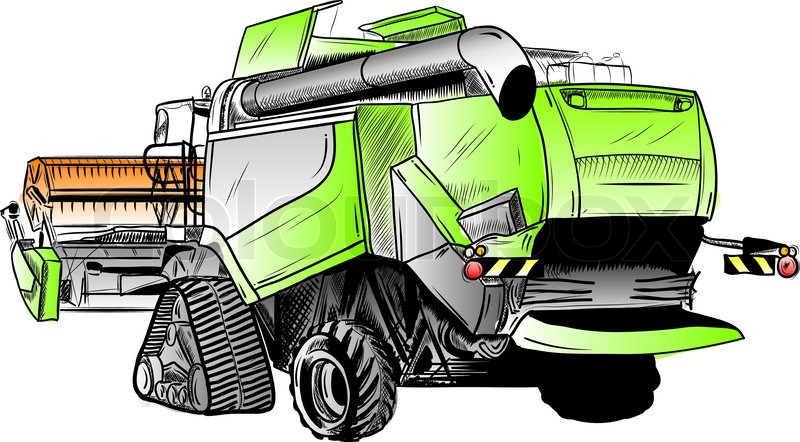 Combine Harvester Drawing at GetDrawings com | Free for