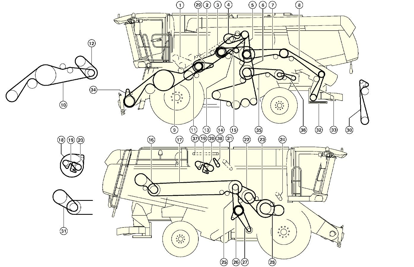 1394x900 Combine Harvester Claas Lexion 580drive Layout Of Belts