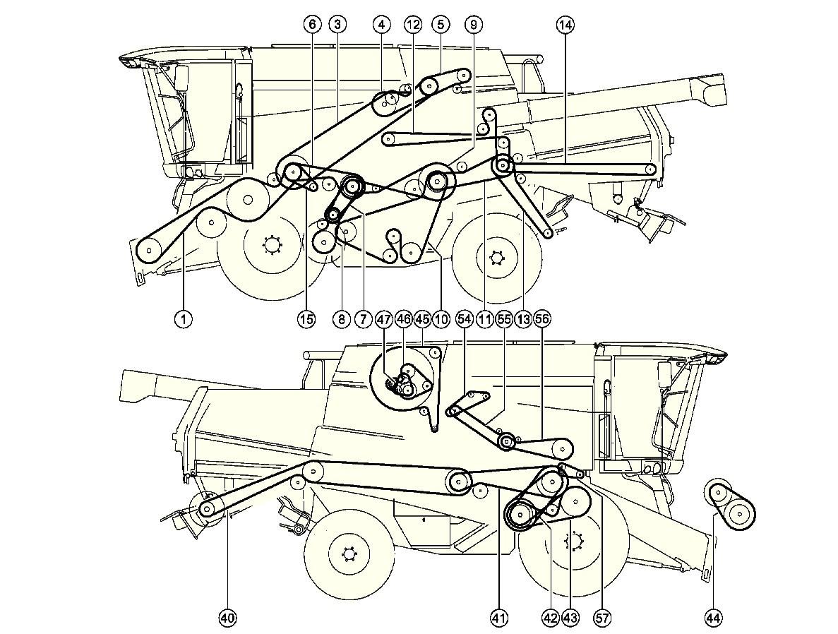 1187x898 Combine Harvester Claas Tucano 320drive Layout Belts Combine