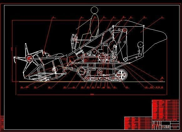 581x422 Rice Wheat Combine Harvesters 2d Drawings 3d Model Dwg