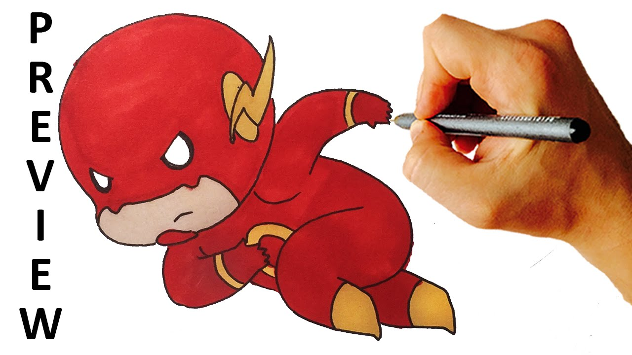 1280x720 How To Draw Flash Chibi From Dc Comics Heroes Easy Step By Step