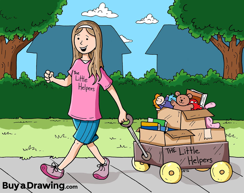 1500x1191 Little Helpers Community Service Daughter Cartoon Drawing