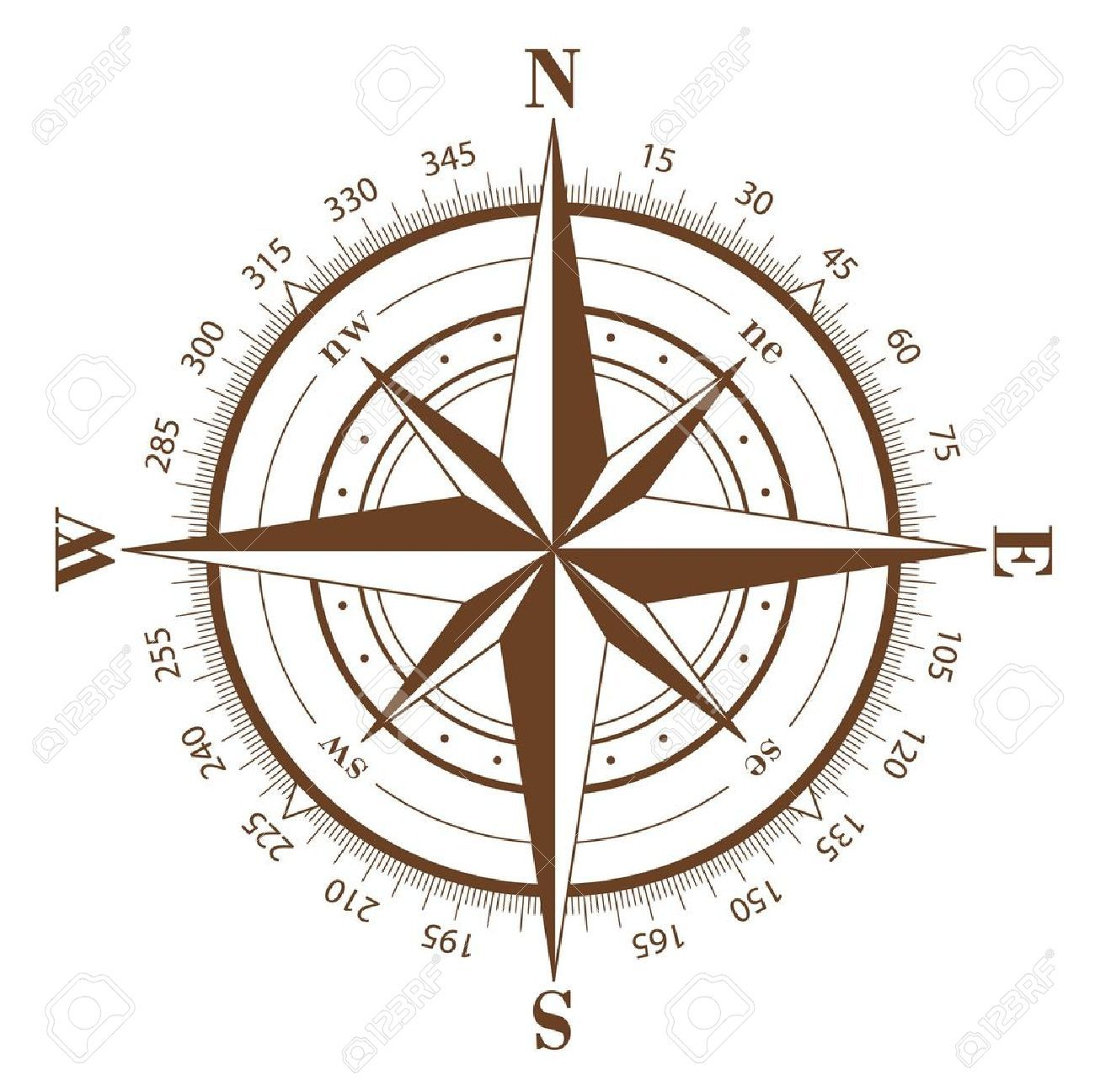 1300x1296 Brown Compass Rose Isolated On White Royalty Free Cliparts