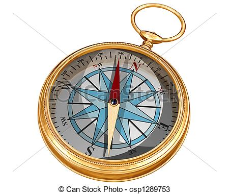 450x380 Isolated compass. Isolated illustration of a golden compass