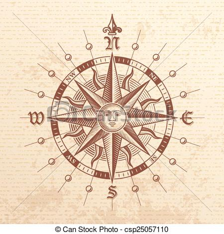 450x470 Vector Vintage Compass Rose. Illustration Of A Vector Hi Vector