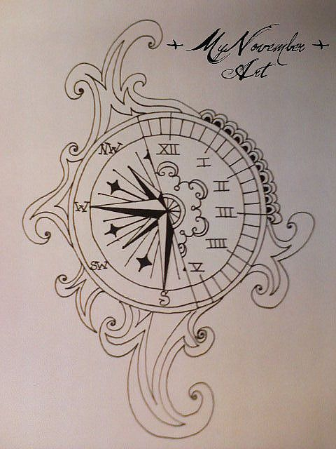 480x640 The Time Compass, Clocks And Tattoo