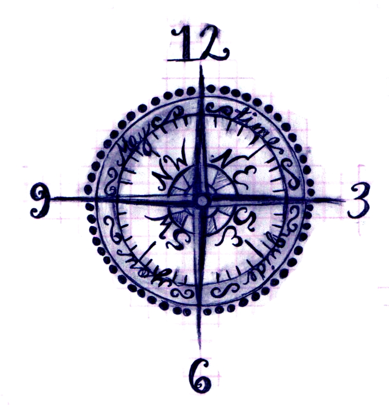 800x832 Trial 2 The Compass Clock By Kkbaby101