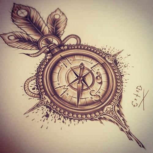 500x500 Beautiful Compass Drawingtattoo Uploaded By Jae