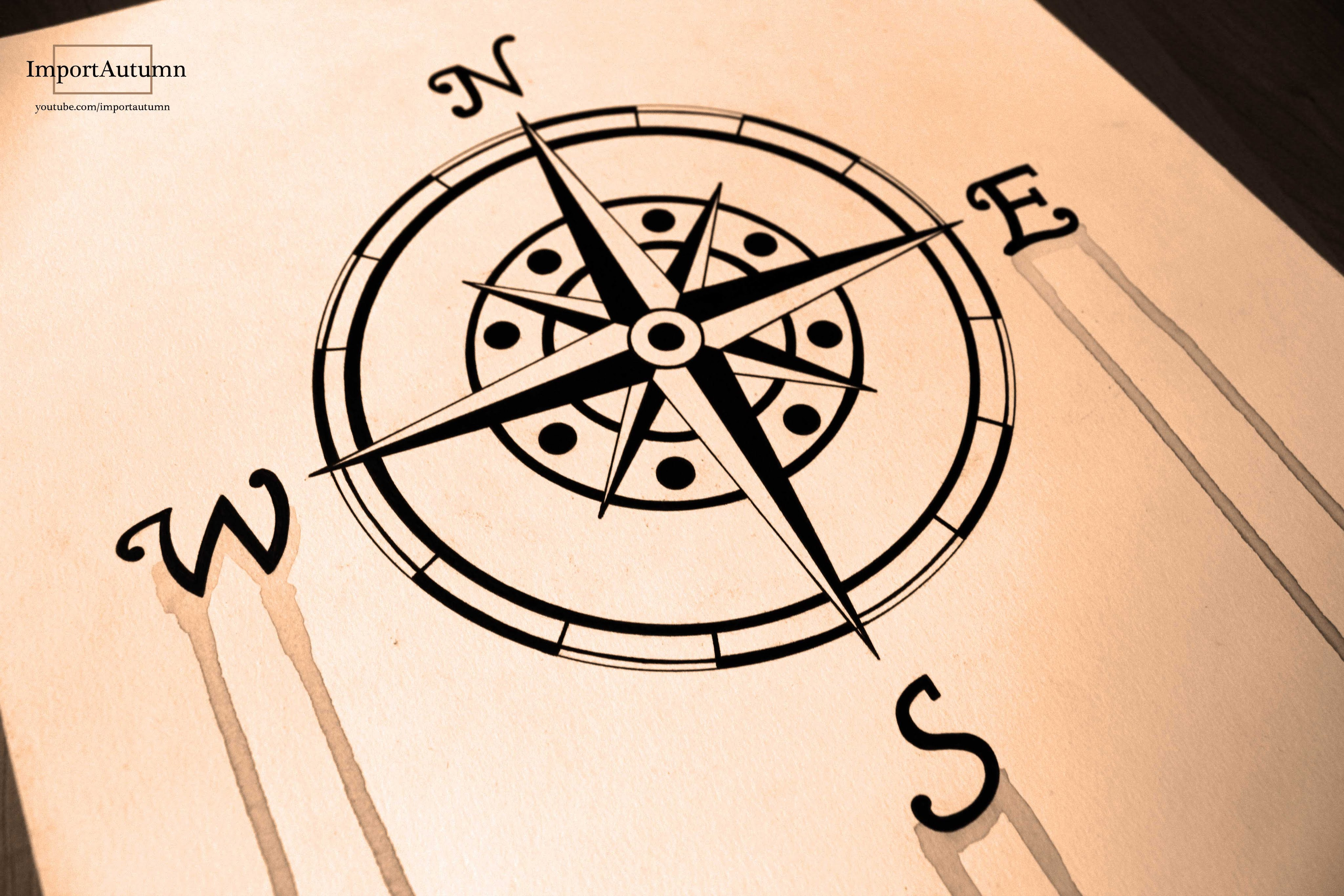 4096x2731 Drawing A Compass (Naval, Nautical, Maritime Compass) Ink +