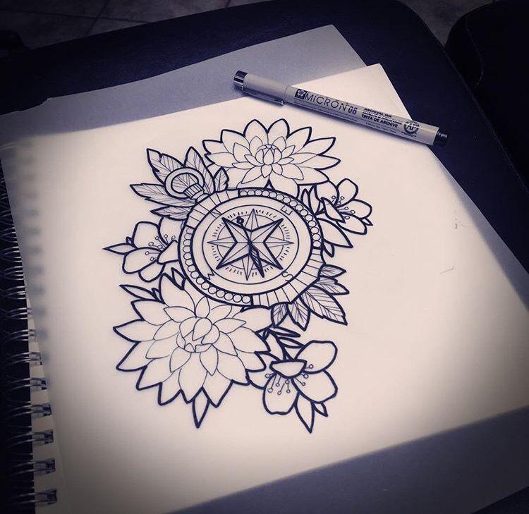 750x729 Mel Perlman's Work Lt3 Tatto Sketch Tattoo, Compass