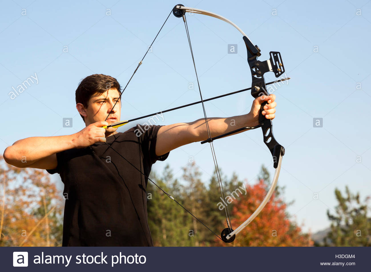 1300x956 An Archer Drawing His Compound Bow In A Field In The Forest During
