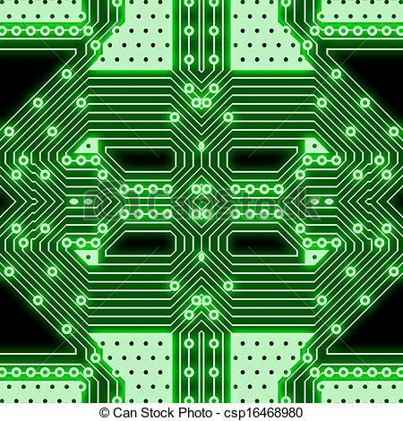 450x470 Green Computer Chip Stock Illustration