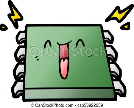 450x363 Happy Computer Chip Cartoon Clipart Vector
