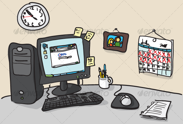 590x400 Hand Drawn Desk Illustration By Dxc Graphicriver