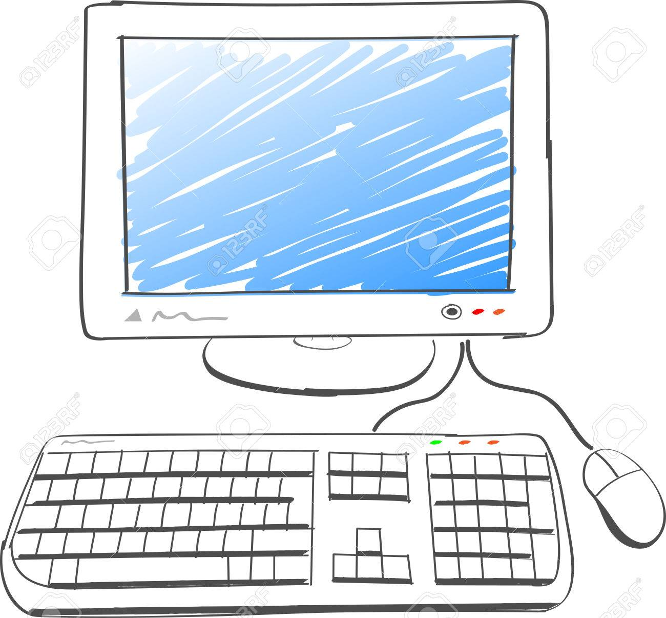 1300x1205 Illustration Of Computer Drawing On White Background Royalty Free