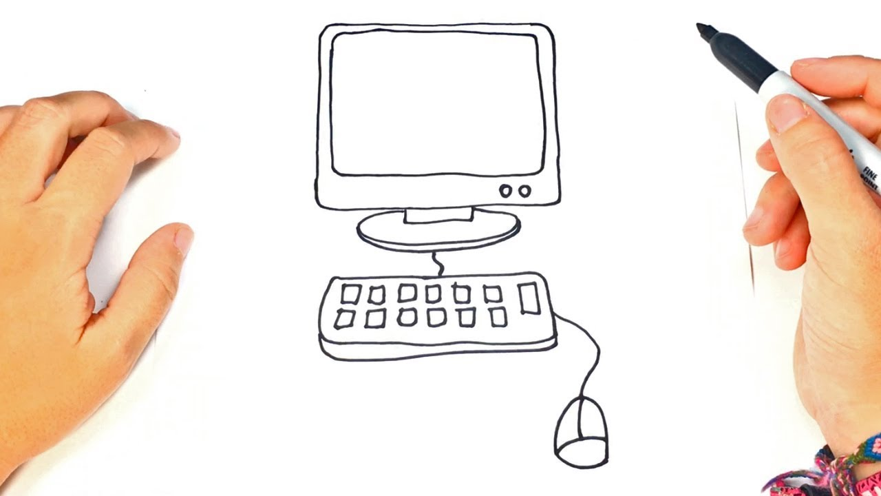 1280x720 How To Draw A Computer Step By Step Computer Drawing Lesson