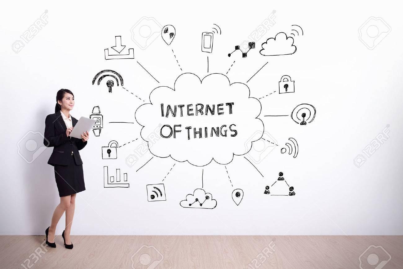 1300x866 Business Woman Hold Computer With Drawing Internet Of Things