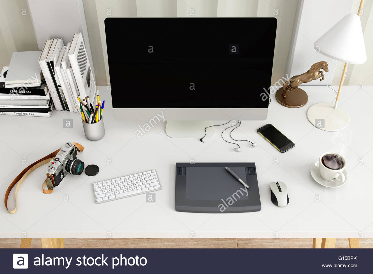 1300x954 Creative Desktop Computer With Drawing Tablet On A Desk In Office