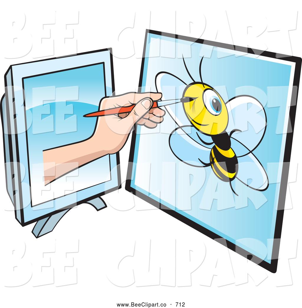 1024x1044 Vector Clip Art Of A Illustrator Reaching Through A Computer