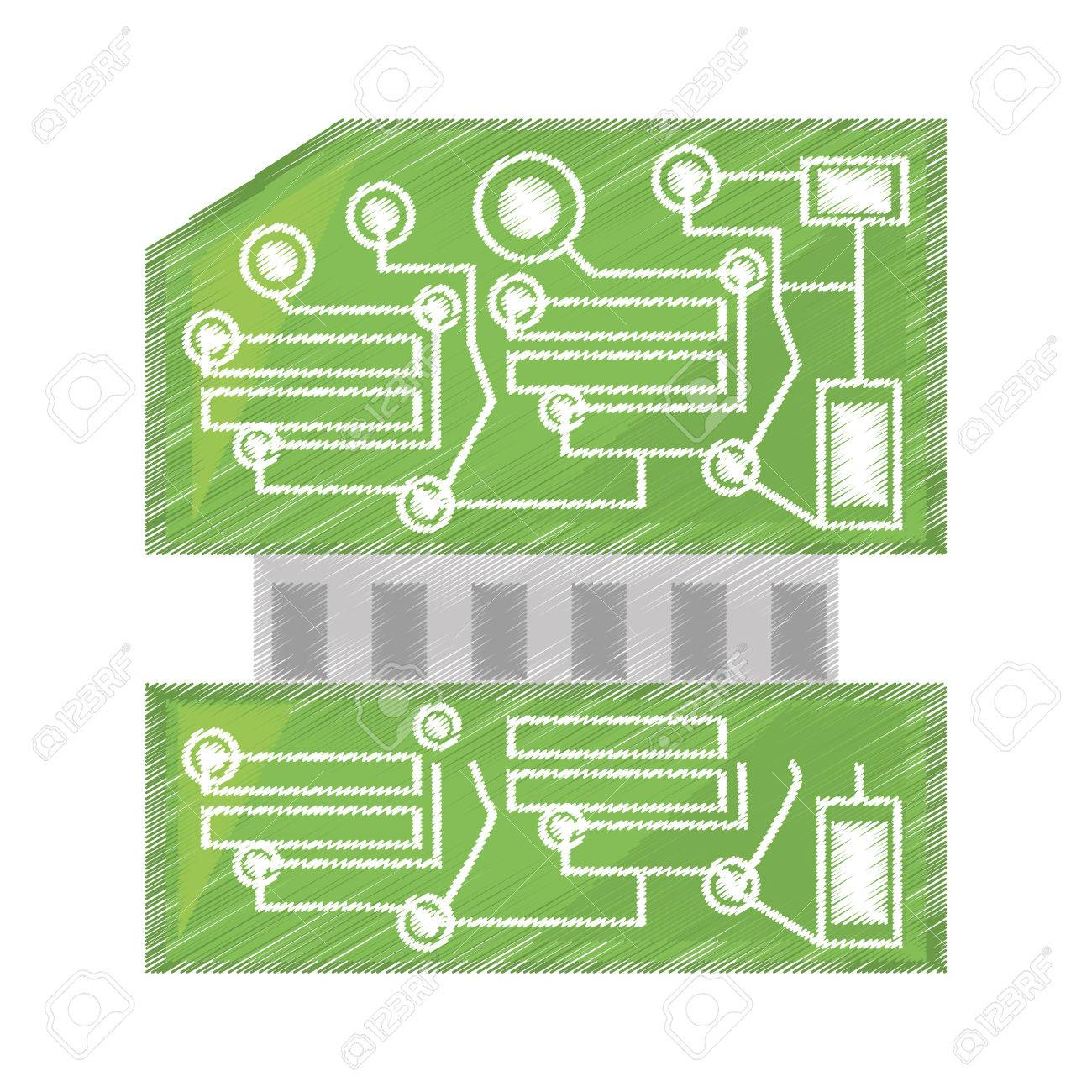 Computer Hardware Drawing At Free For Personal Use Repair Of A Circuit Board Used In Pc Royalty Clip 1300x1300 Processor Card Vector Illustration