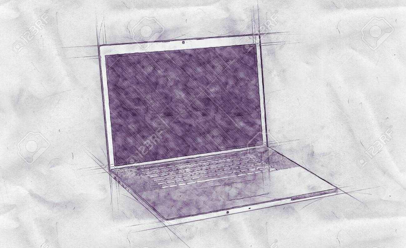 1300x793 Pencil Drawing Of An Open Laptop Computer With Guide Lines
