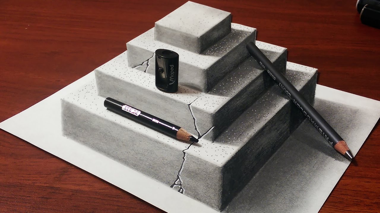 1280x720 How To Make A 3d Concrete Pyramid Pencil Drawing