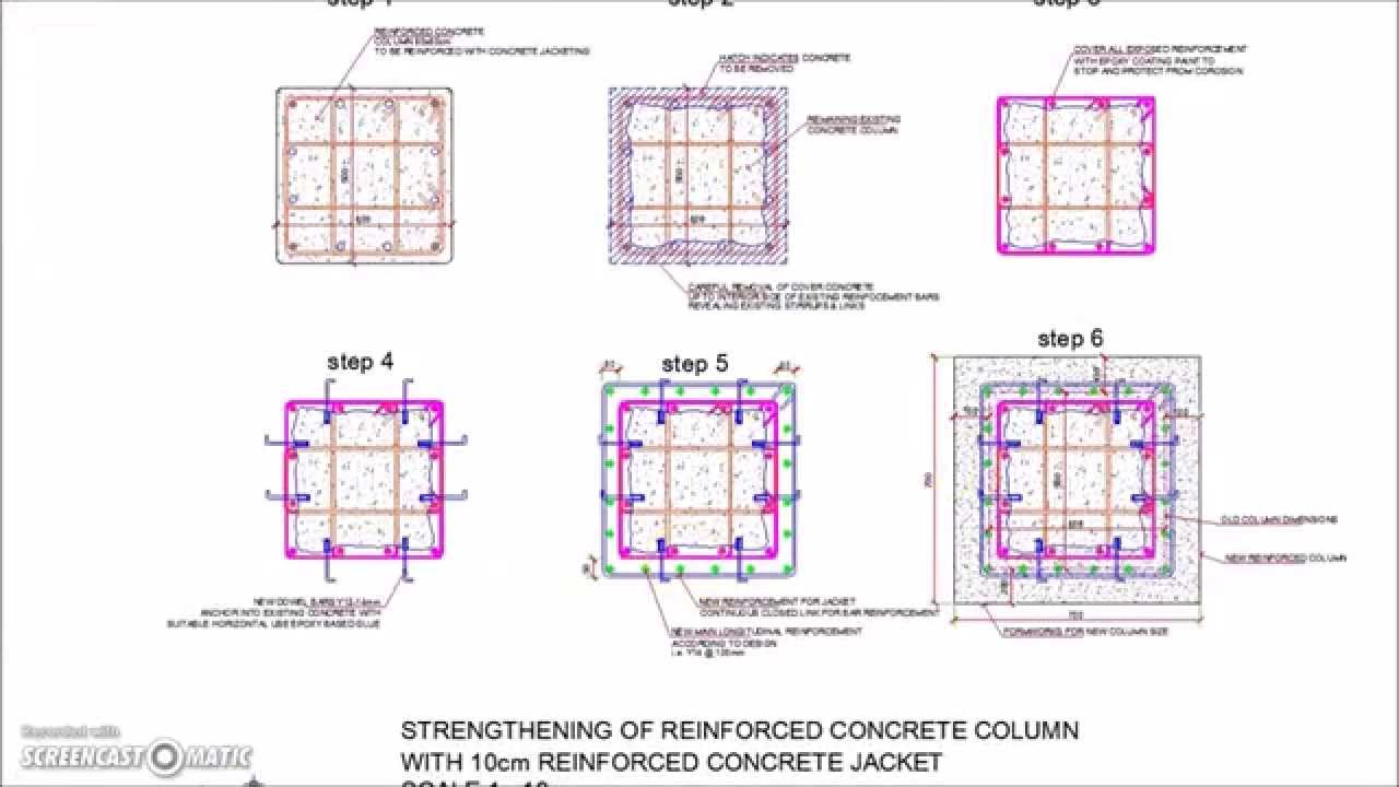 1280x720 Reinforced Concrete Column Jacketing Detail