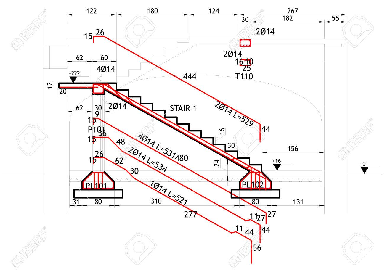 1300x919 Structural Drawing For A Reinforced Concrete Structure Stock Photo